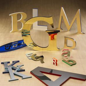 Vinyl, magnetic, metal and other stick on signage letters